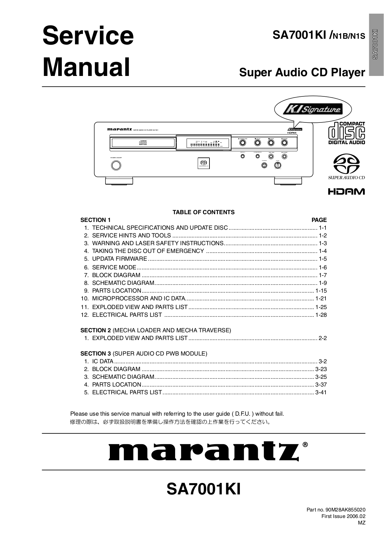 pdf for Marantz CD Player SA8001 manual