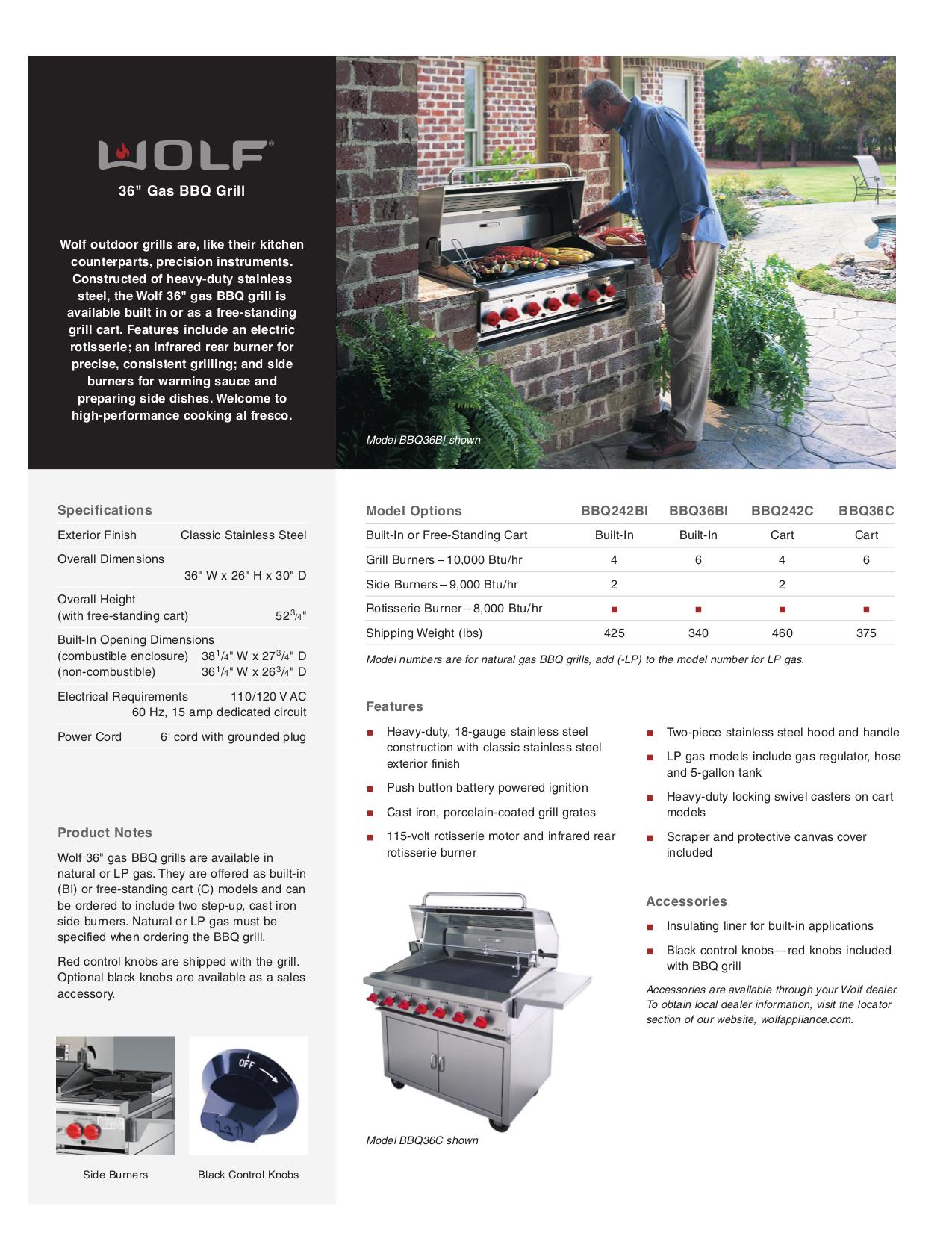 pdf for Wolf Grill BBQ36BI manual