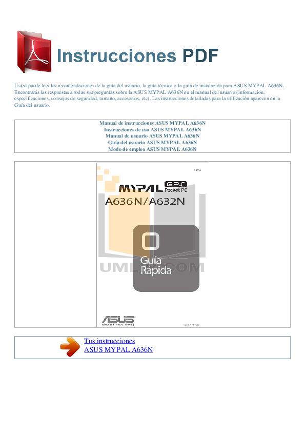 pdf for Asus PDA MyPal A636N manual