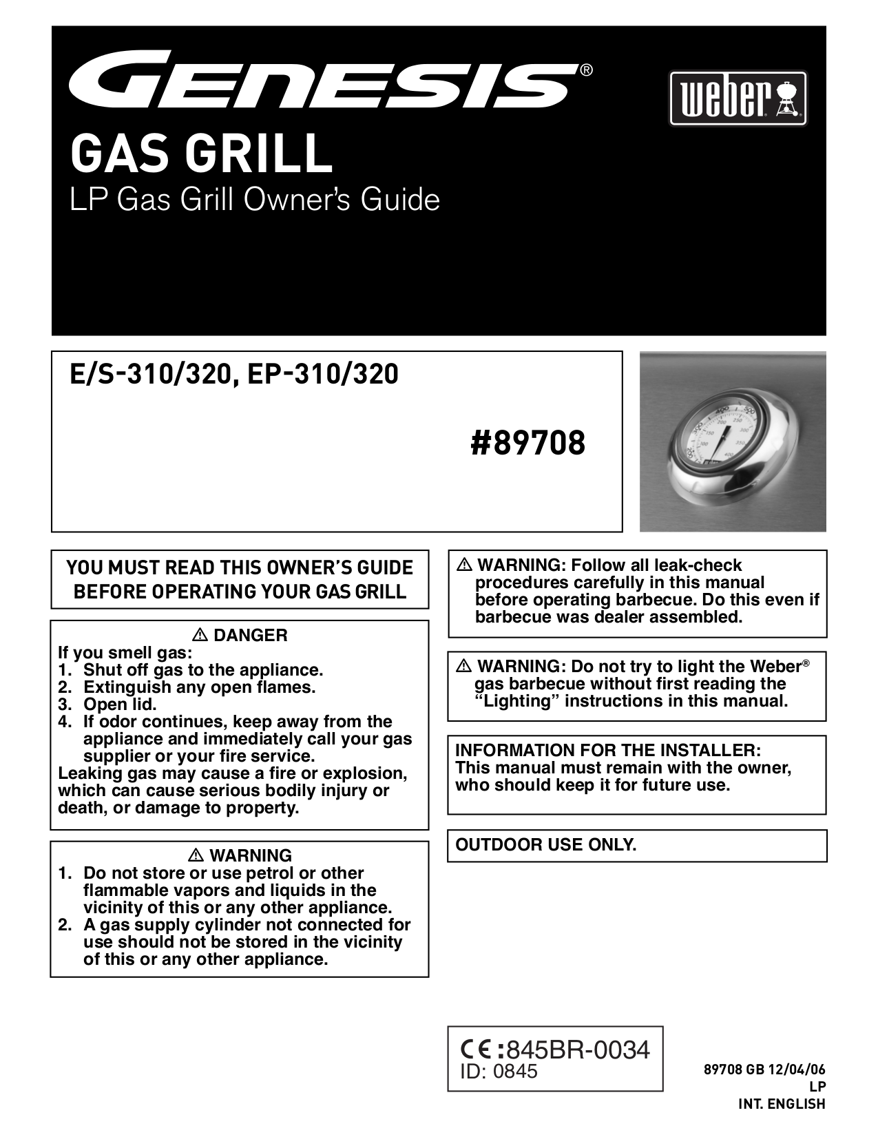 pdf for Weber Grill S-310 manual