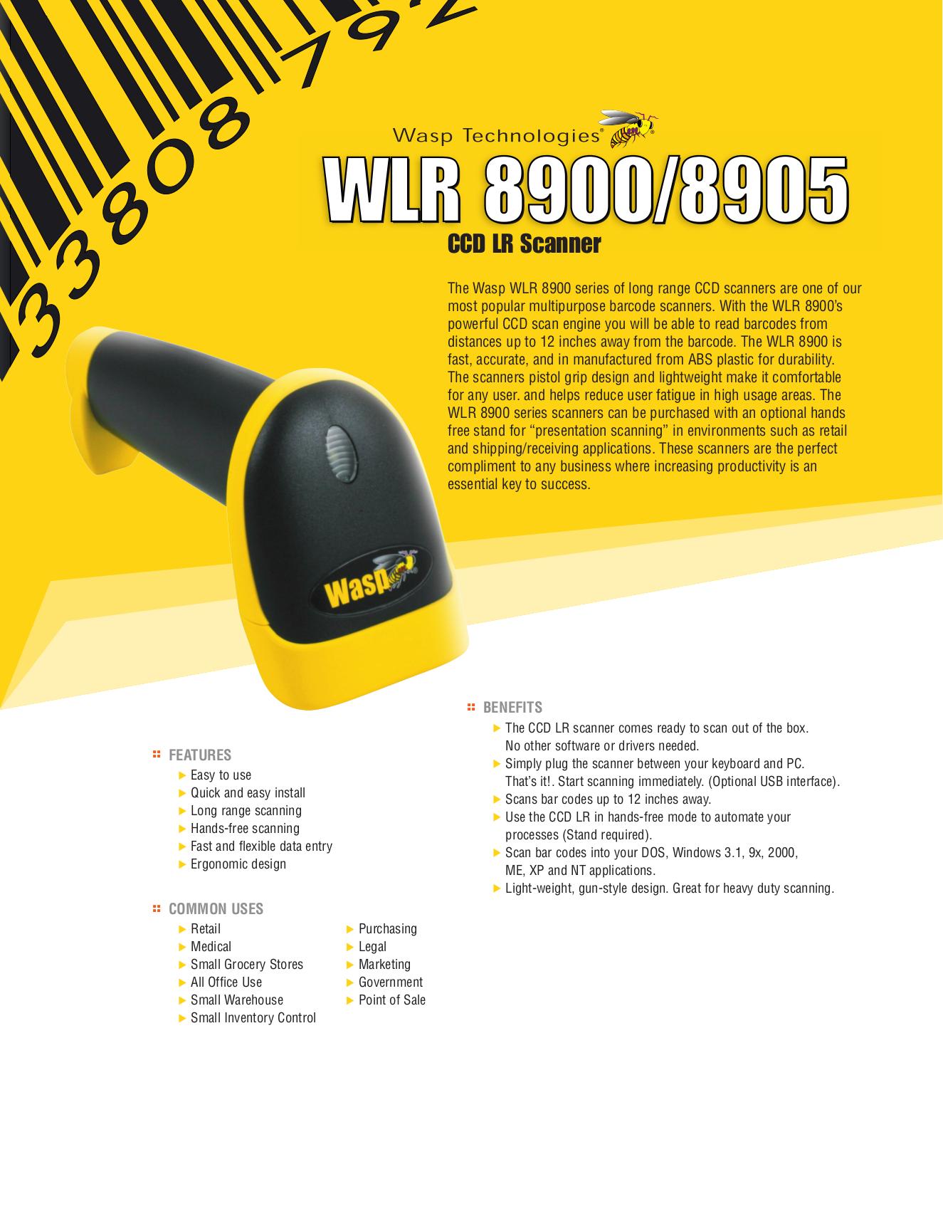 pdf for Wasp Scanner WLR8905 manual