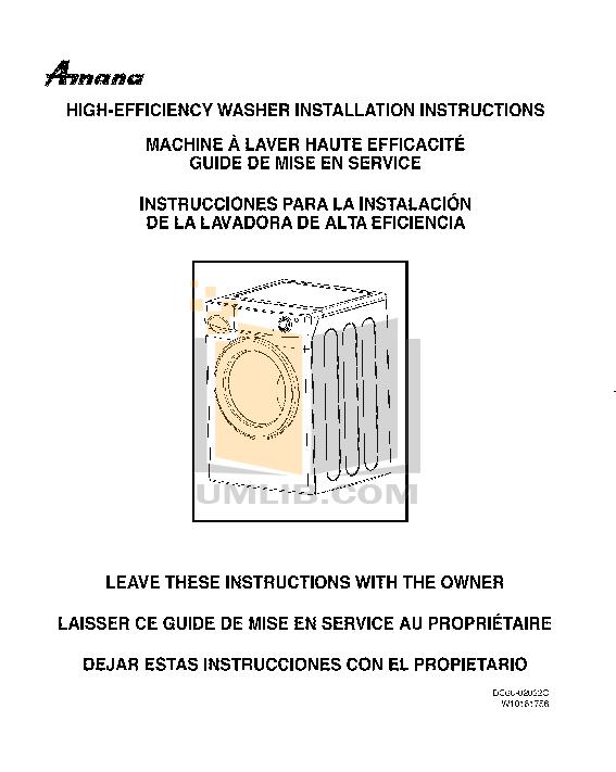 Amana washer Service Manual