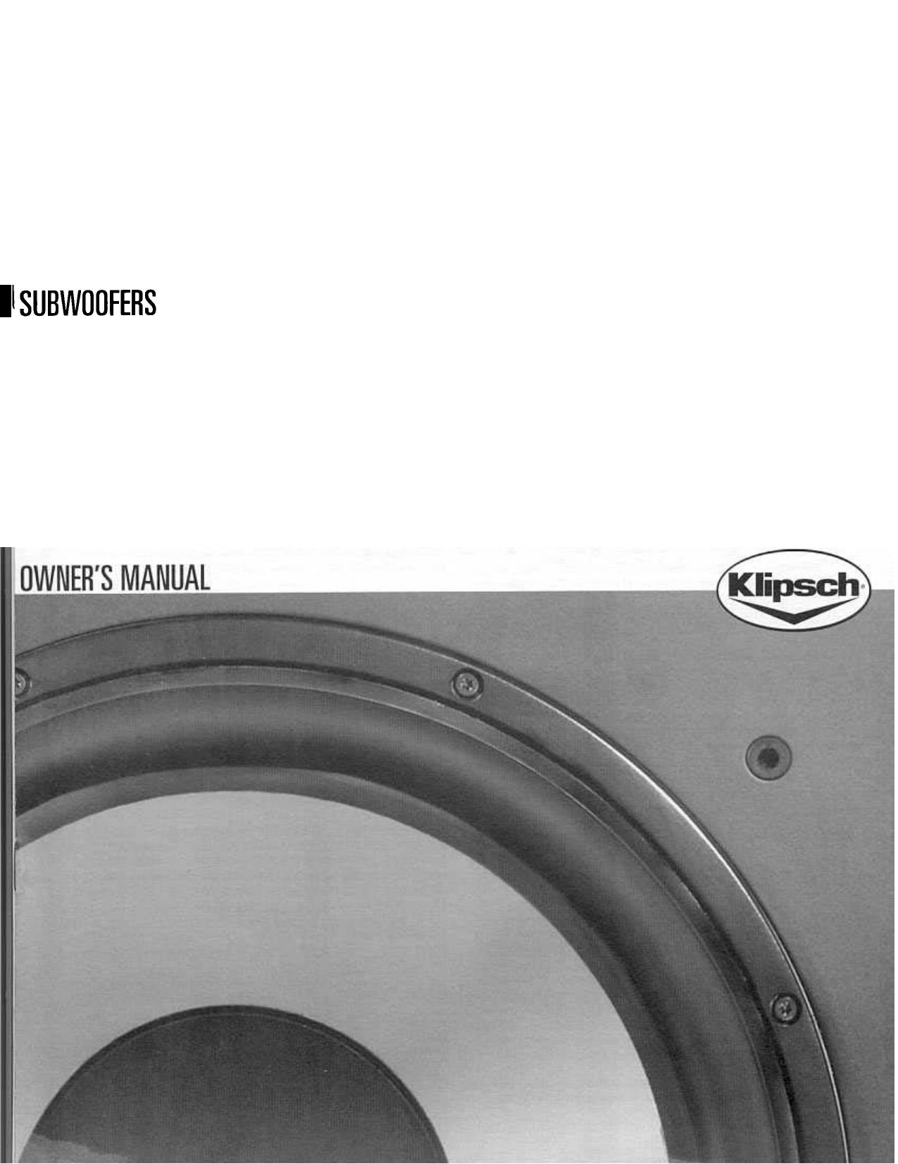 Klipsch 12 subwoofer manual