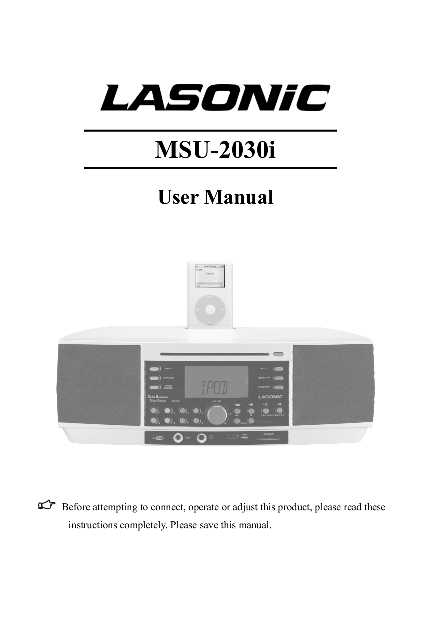 pdf for Lasonic CD Player MSU-2030i manual