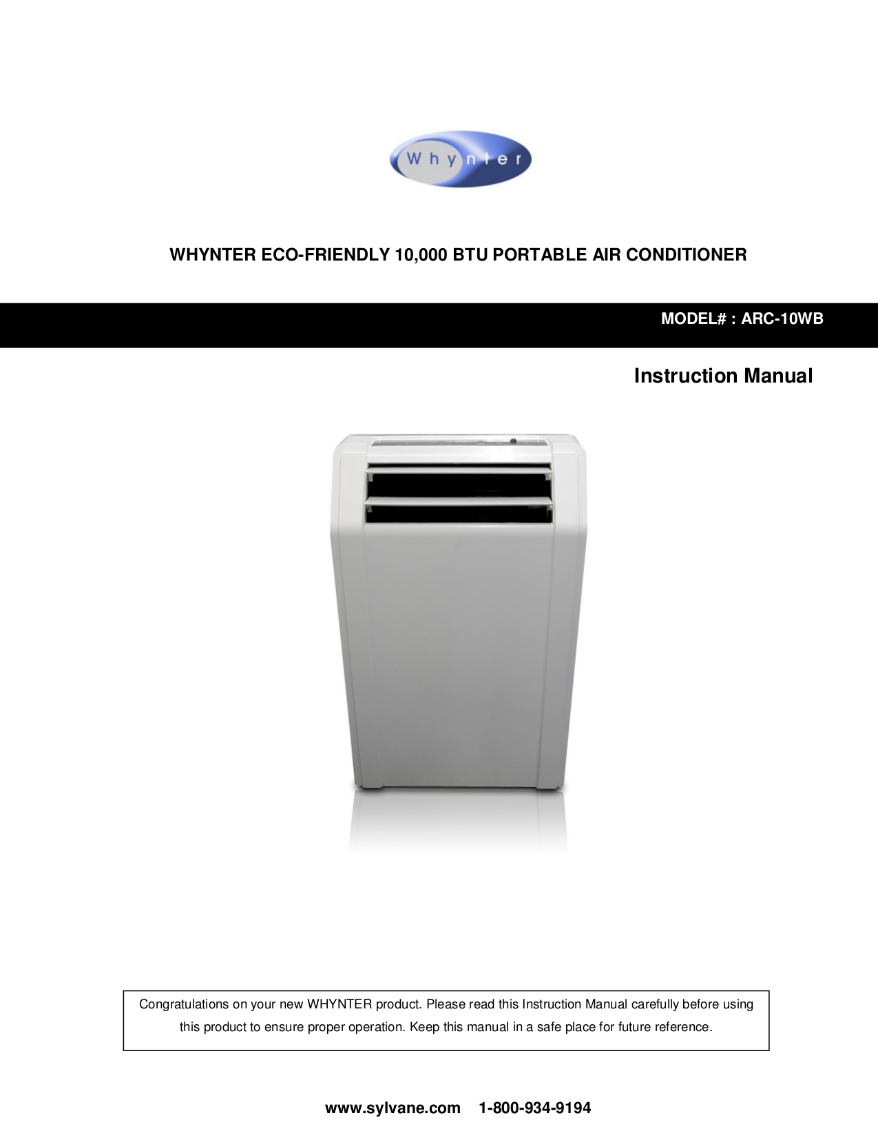 pdf for Whynter Air Conditioner ARC-13S manual