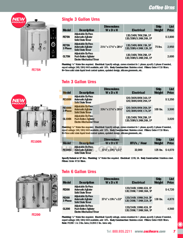 Cecilware Coffee Maker GB3M-5.5-LD pdf page preview