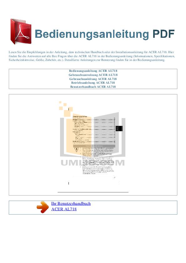 pdf for Acer Monitor AL718 manual