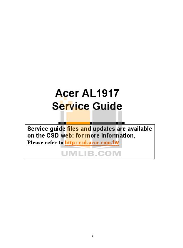 pdf for Acer Monitor AL1917 manual