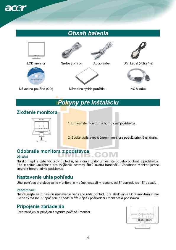 Acer Monitor AL1917 pdf page preview