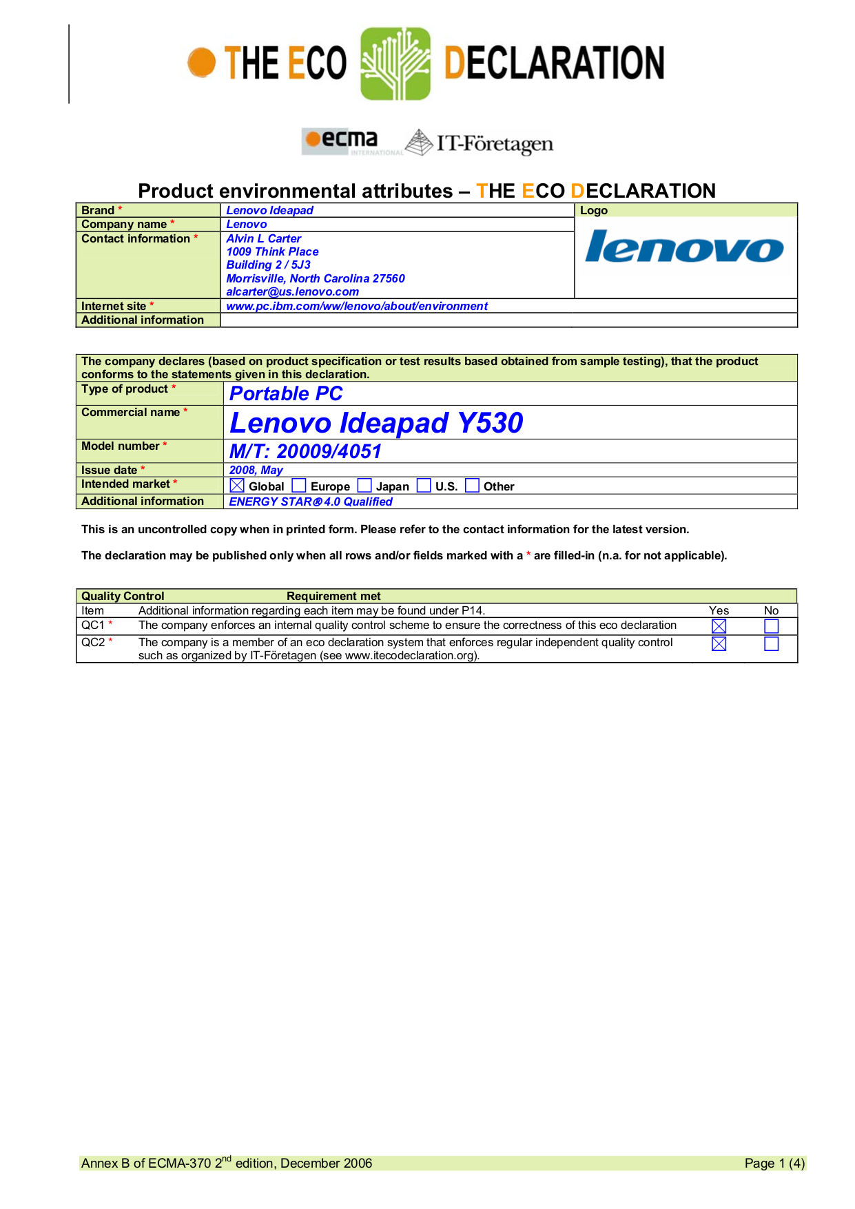 Lenovo Ideapad Y530 Manual