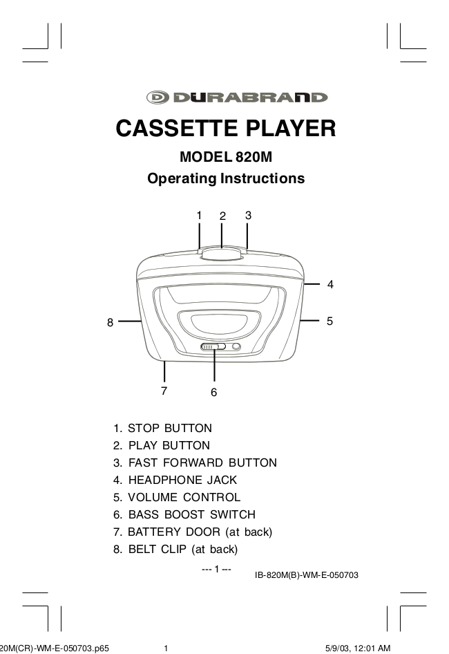 pdf for Lenoxx Other 820M Cassette Players manual