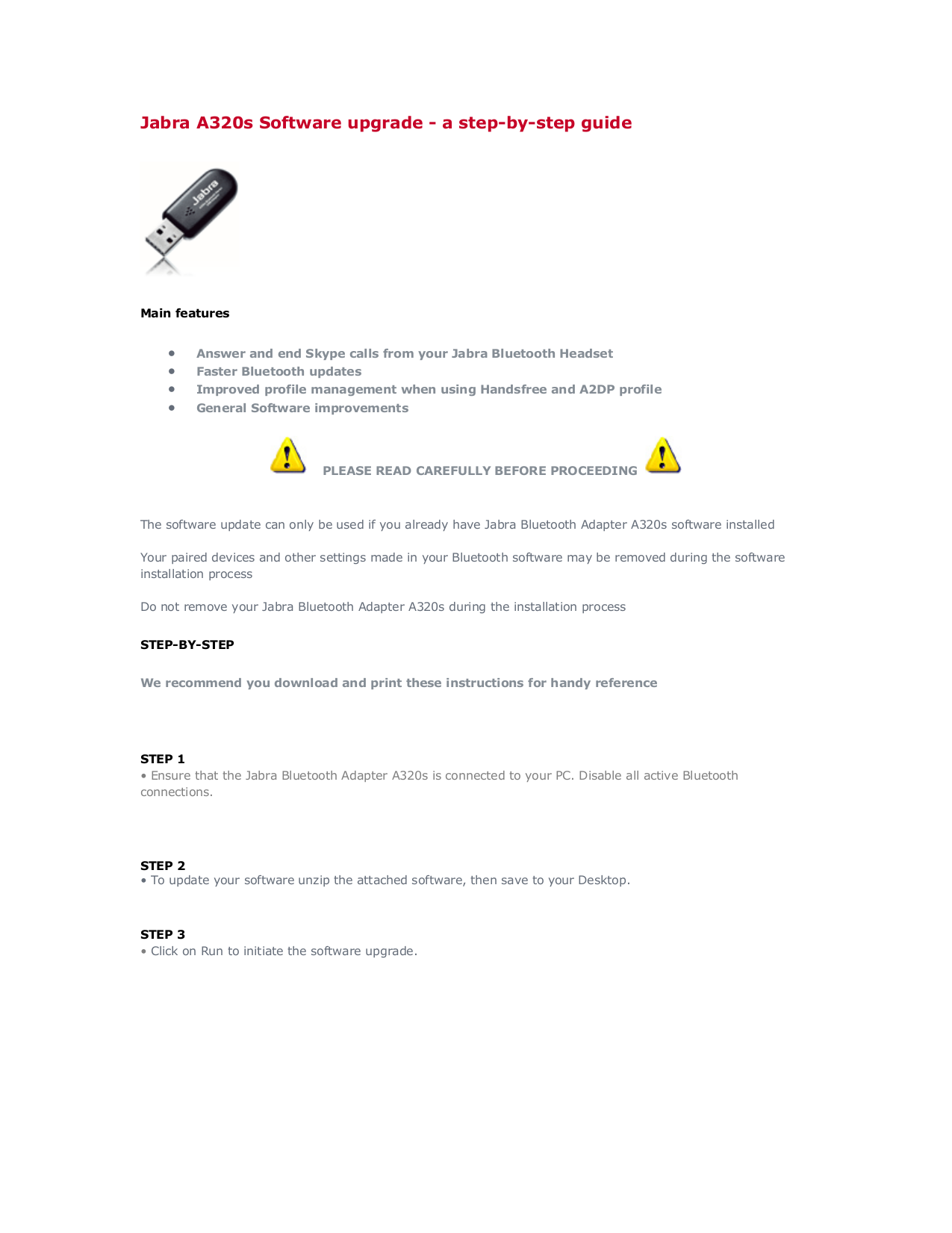 pdf for Jabra Other A320s Bluetooth Adapter manual