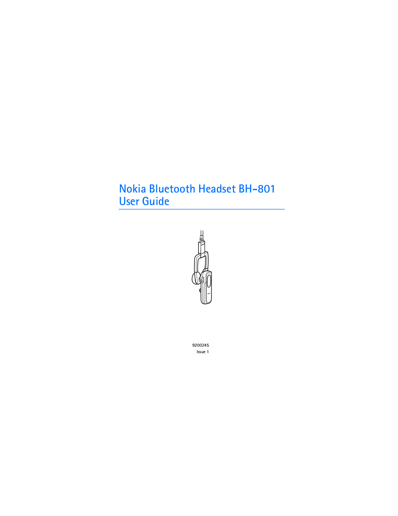 pdf for Nokia Headset BH-801 manual