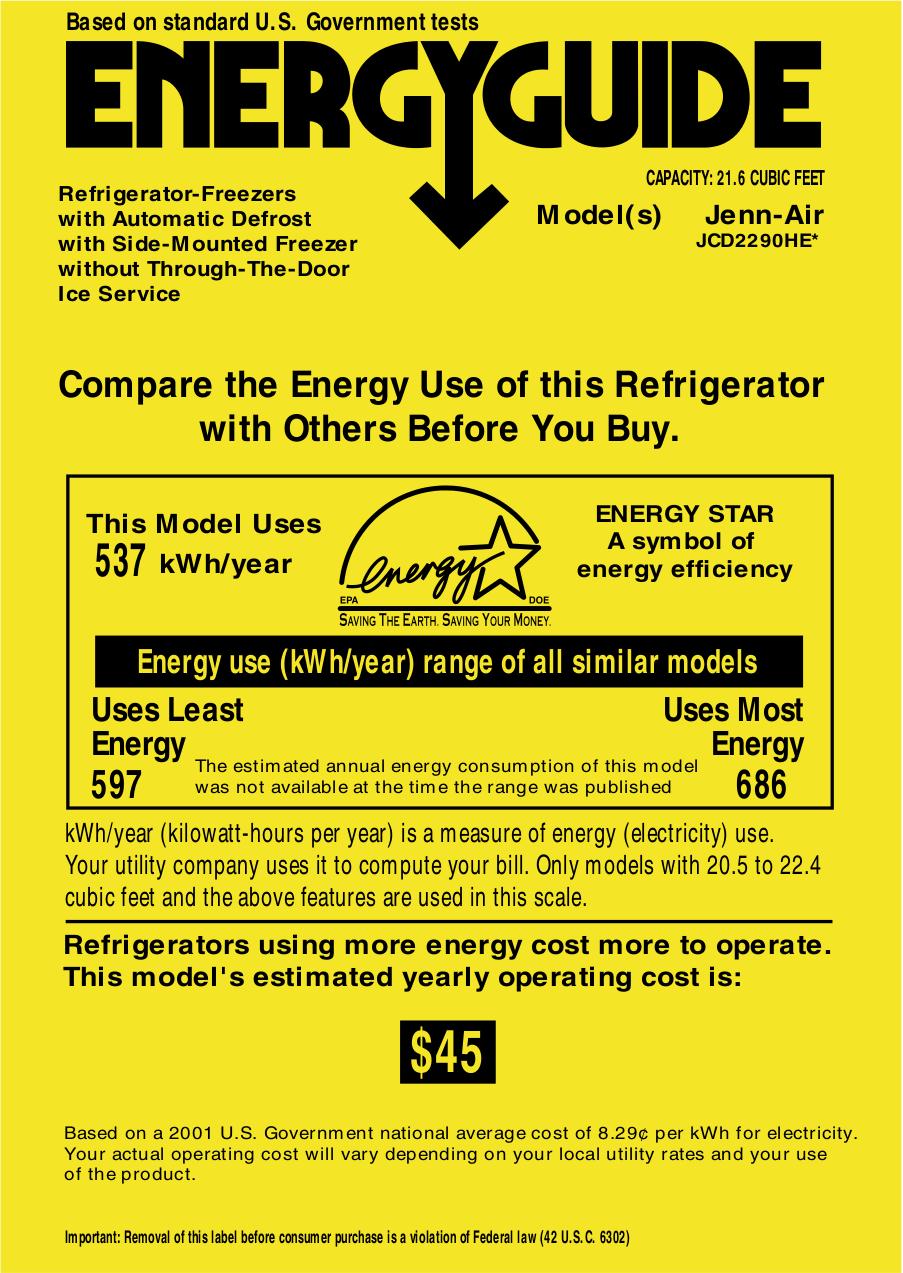 pdf for Jenn-Air Refrigerator JCD2290HE manual