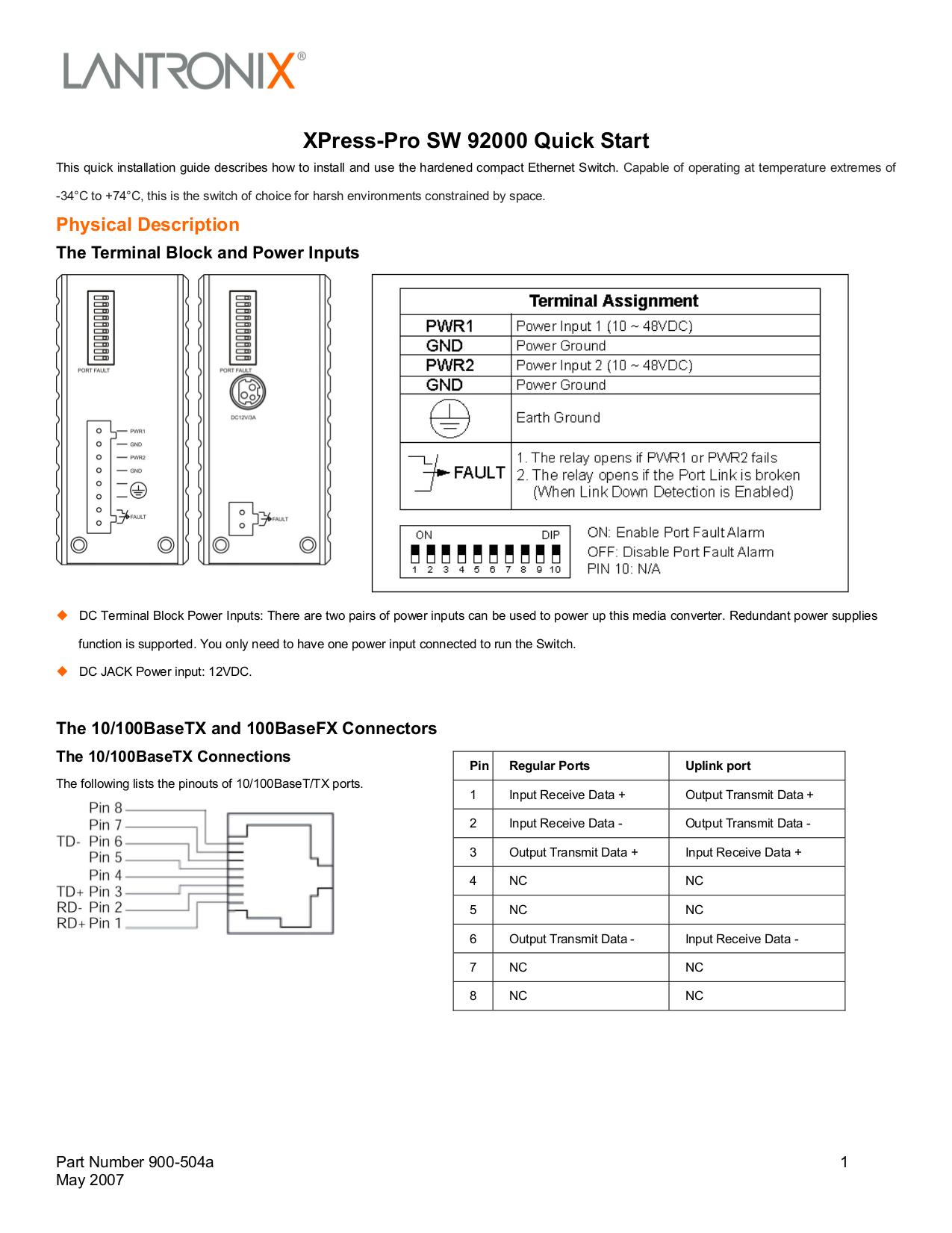 pdf for Lantronix Switch Xpress-Pro SW 92000 manual
