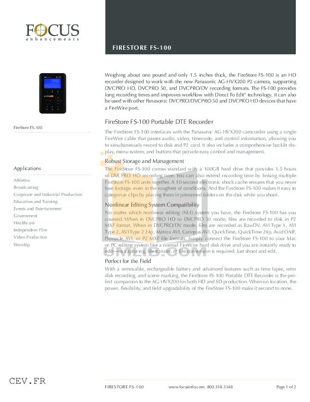 pdf for Focus Storage Firestore FS-2E manual