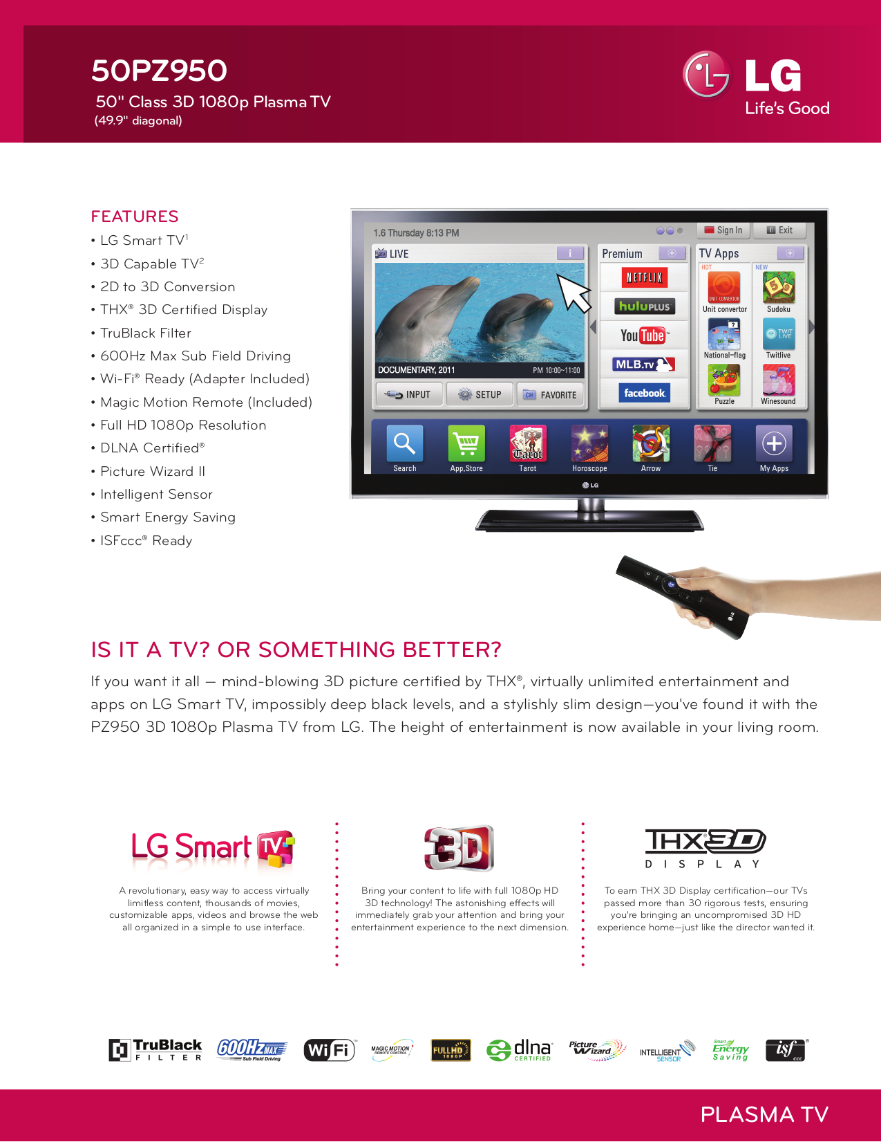 pdf for LG Plasma TV 50PZ950 manual