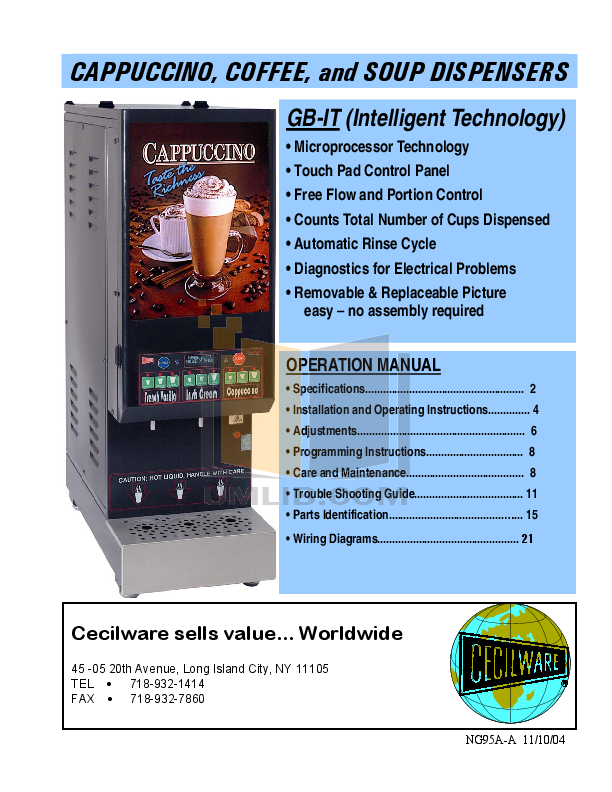 pdf for Cecilware Coffee Maker GB3M-IT-10 manual
