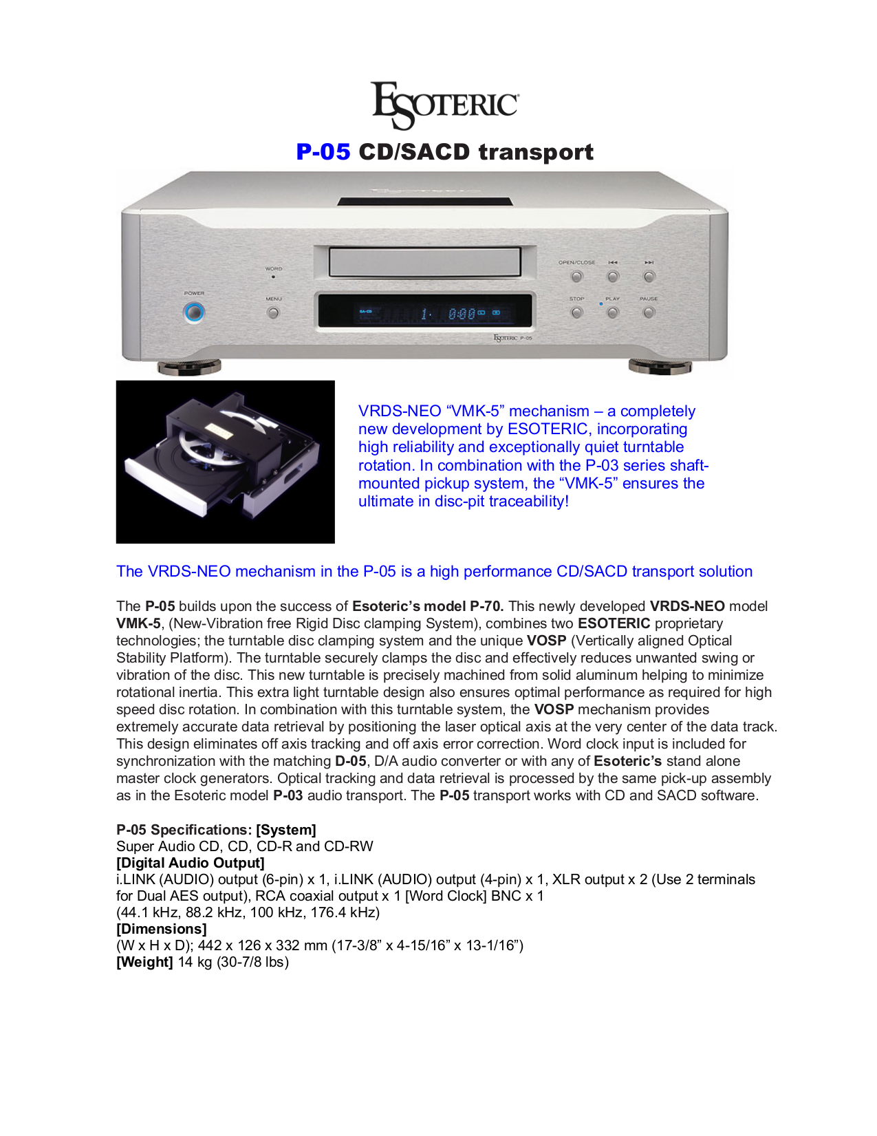 pdf for Teac Other P-03 Disc Transport Systems manual