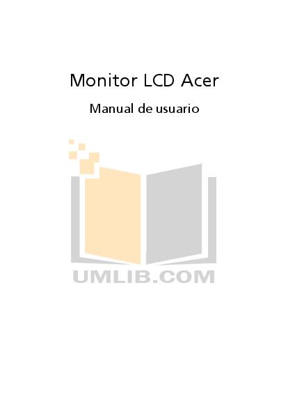 pdf for Acer Monitor AL1706 manual