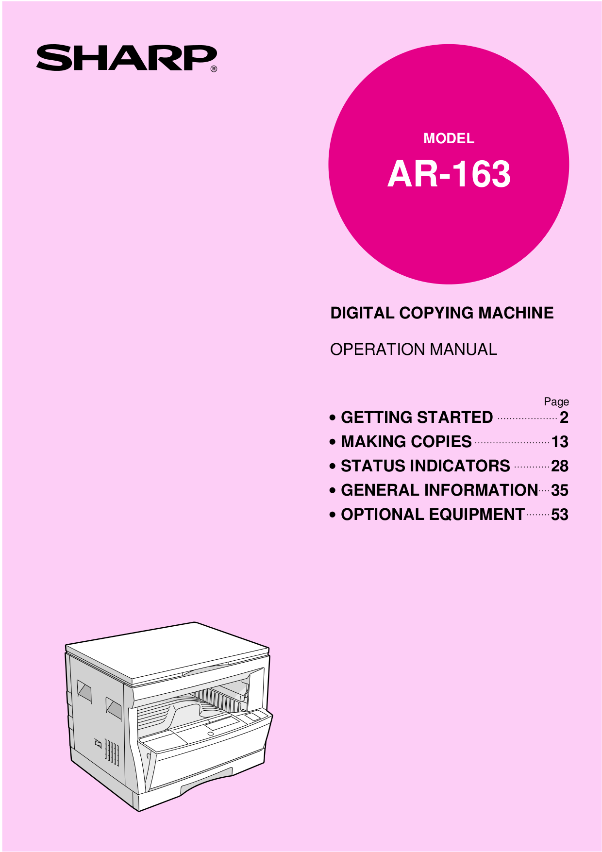 pdf for Sharp Copier AR-162S manual