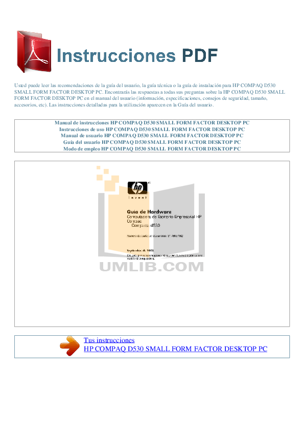 Hp compaq d530 cmt Manual