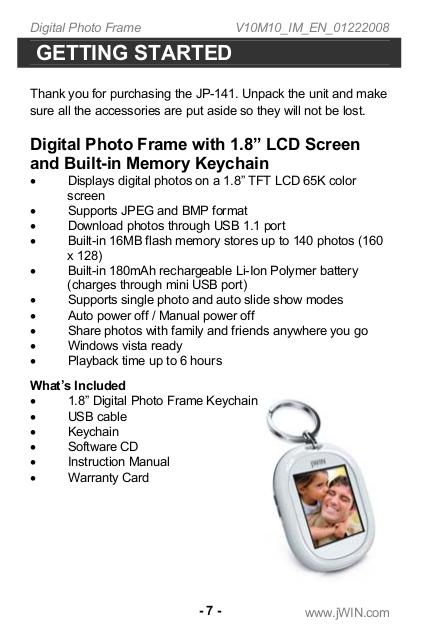 jWIN Digital Photo Frame JP-141 pdf page preview