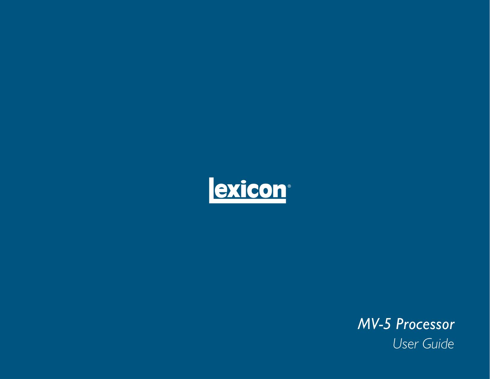 pdf for Lexicon Receiver MV-5 manual