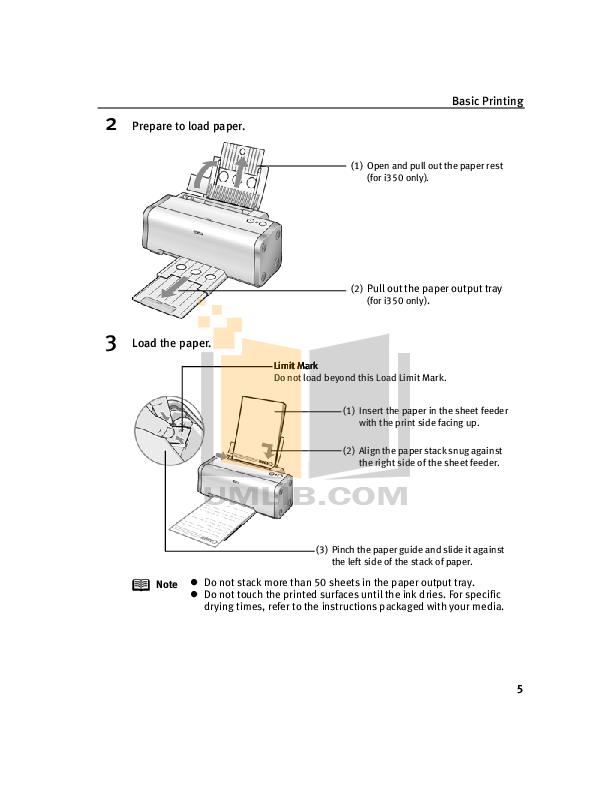 Canon Printer i250 pdf page preview