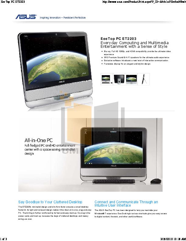 pdf for Asus Desktop Eee Top ET2203 manual