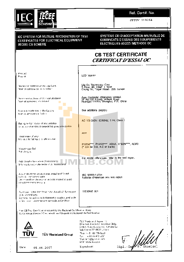 pdf for Acer Monitor P193W manual