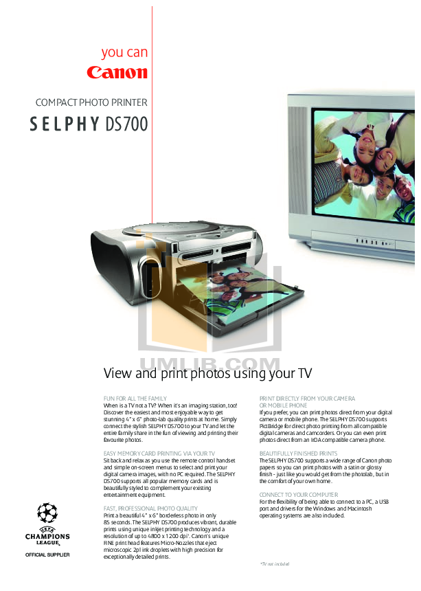pdf for Canon Printer SELPHY DS700 manual