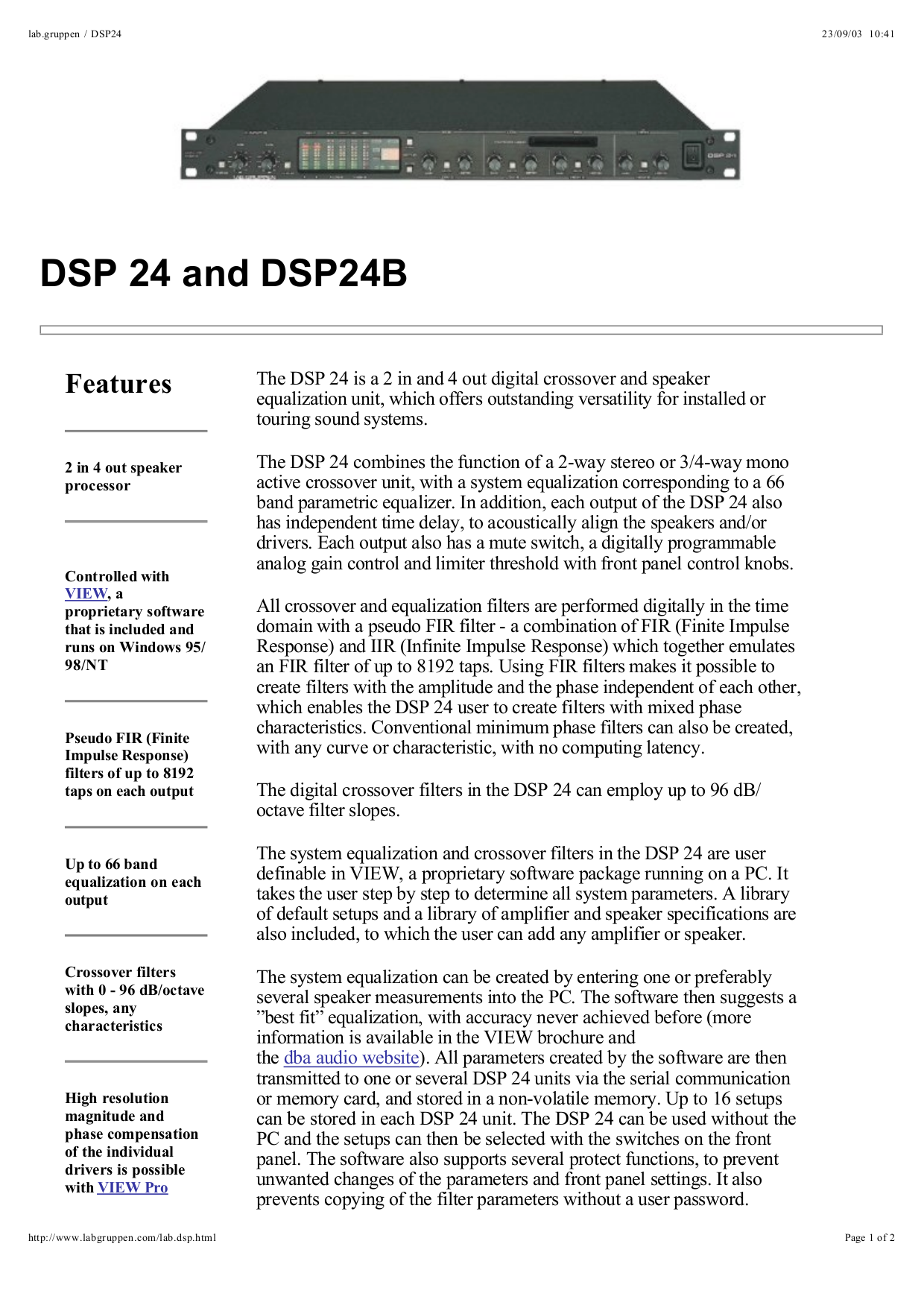 pdf for Lab.gruppen Other DSP 24B Crossover Networks manual