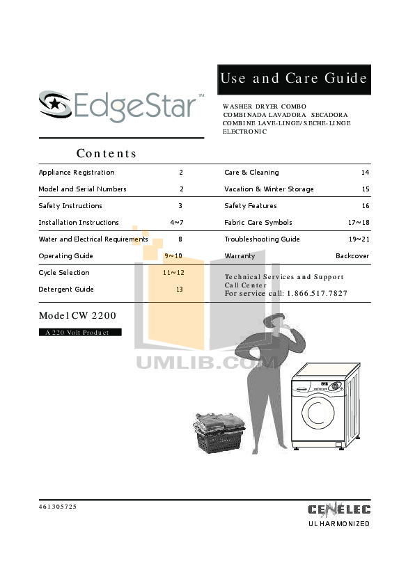 pdf for Edgestar Other CW2200 Washers-Dryers-Combo manual