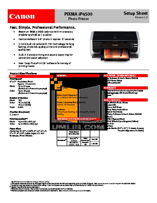 pdf for Canon Printer PIXMA iP4500 manual