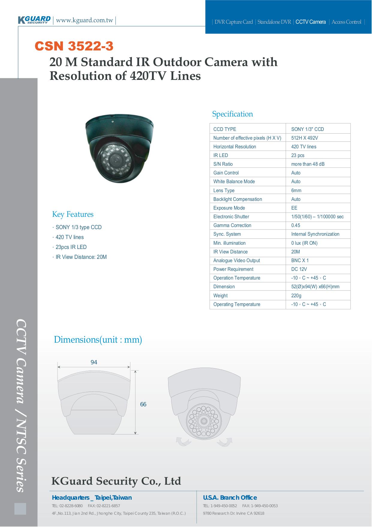 pdf for Kguard Security Camera CSN-3522-3 manual