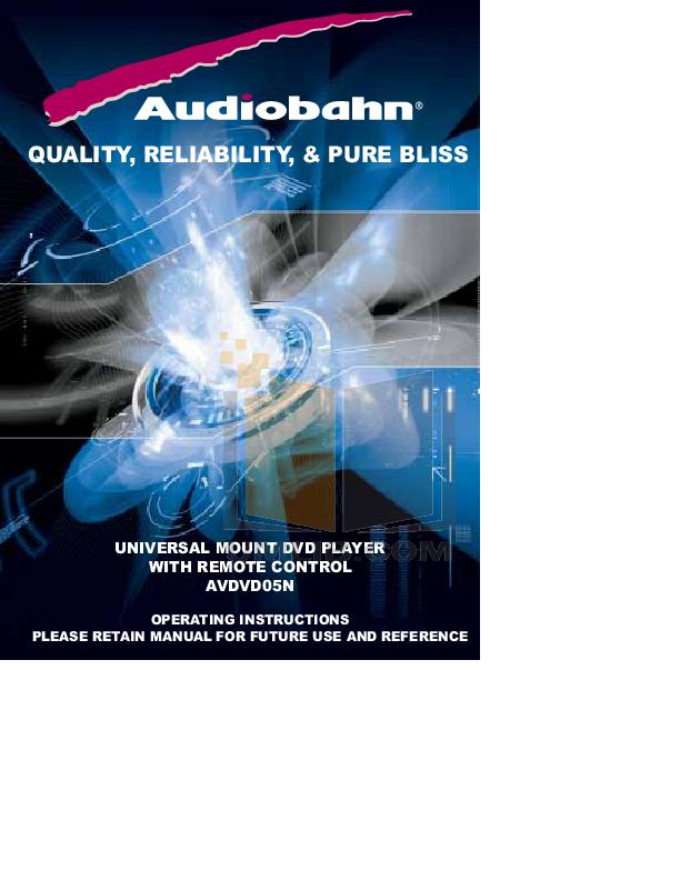 pdf for Audiobahn Car Video AVDVD05N manual
