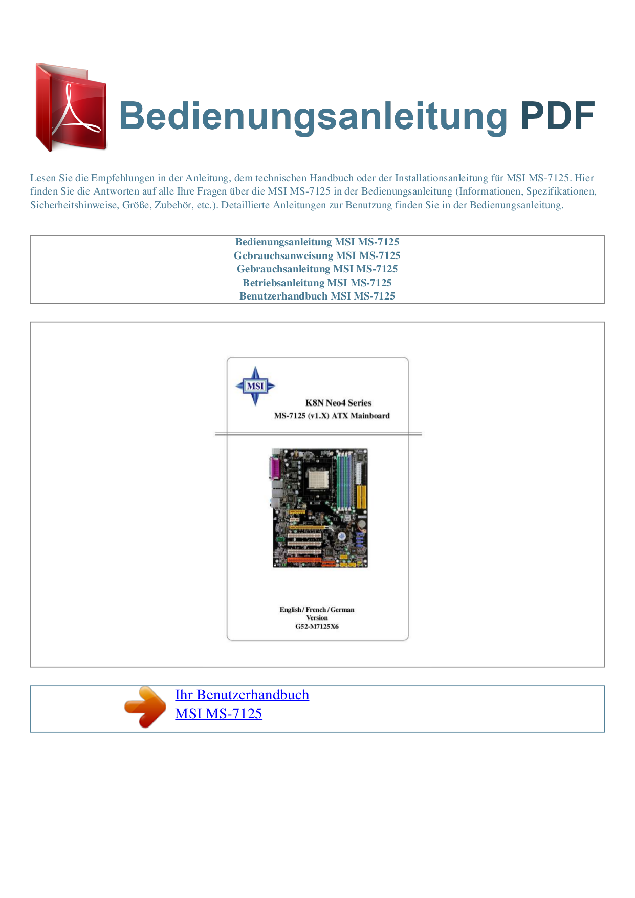Download Free Pdf For Msi Ms 7125 Motherboard Other Manual Diagram
