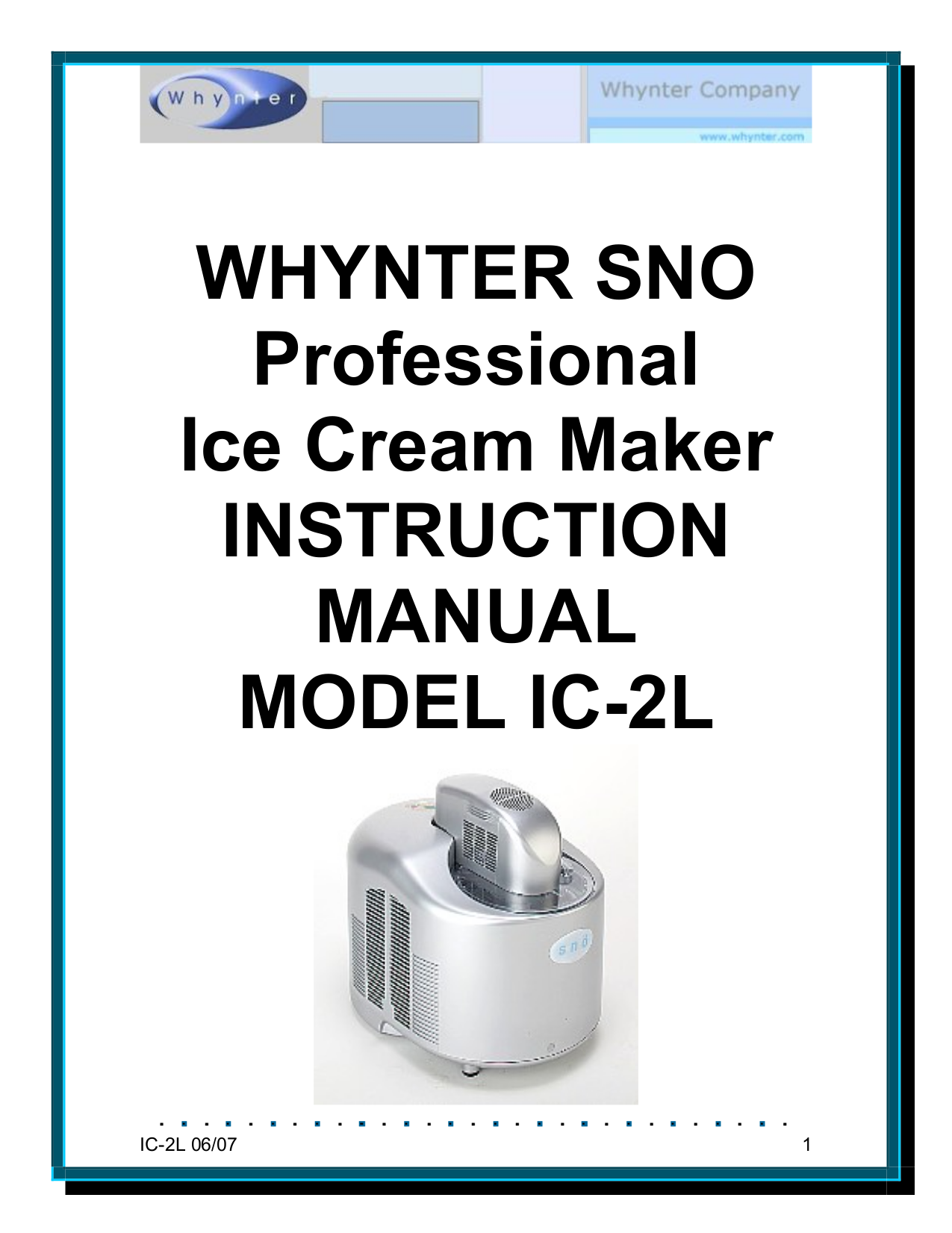 pdf for Whynter Other SNO IC-2L Ice Makers manual