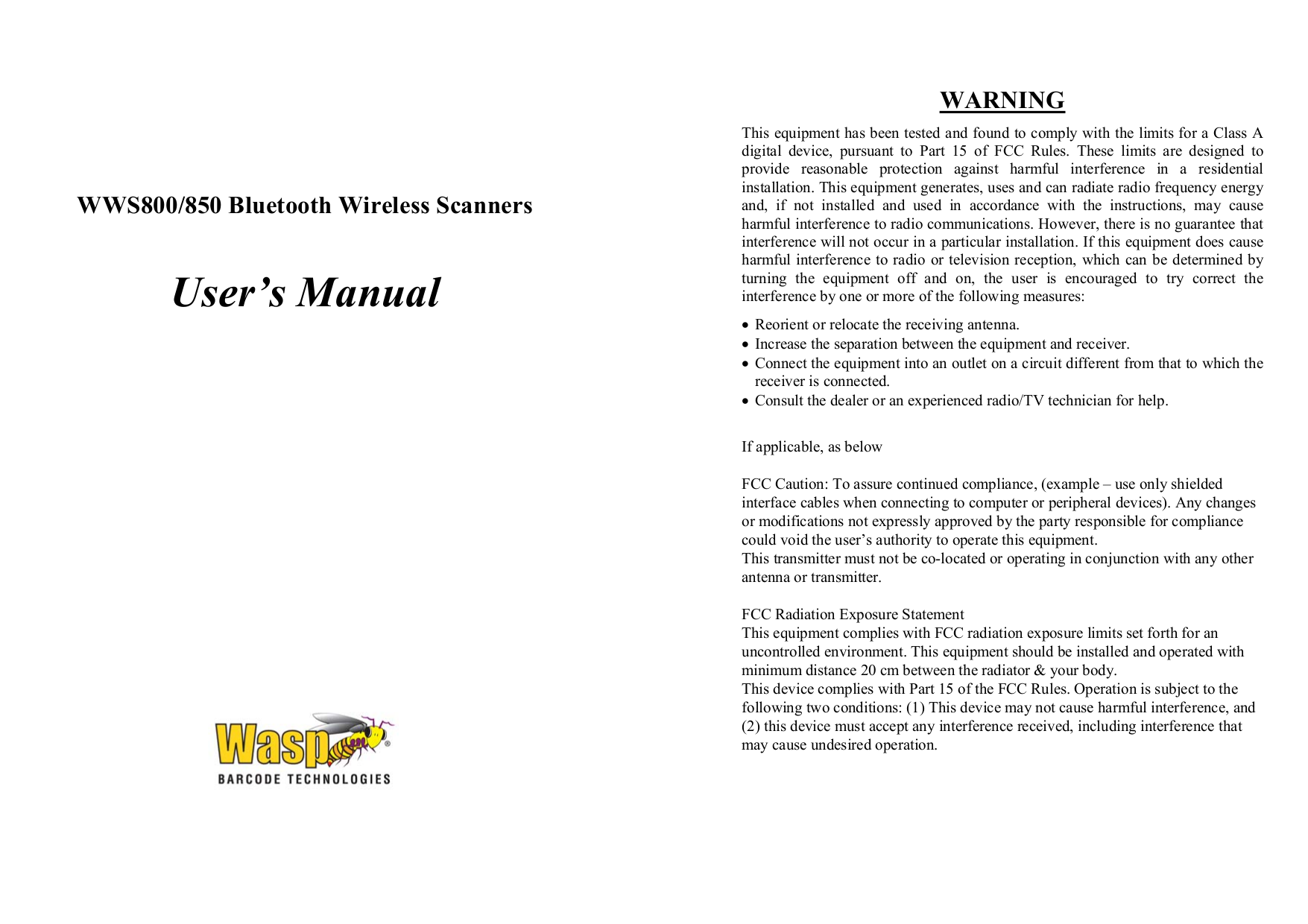 pdf for Wasp Scanner WWS800 manual