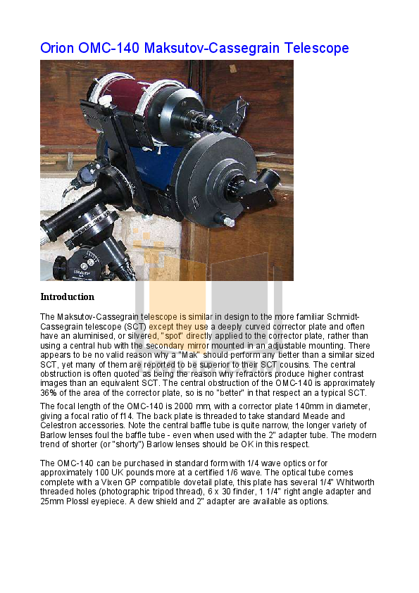 pdf for Celestron Other CO-100 Refractor manual