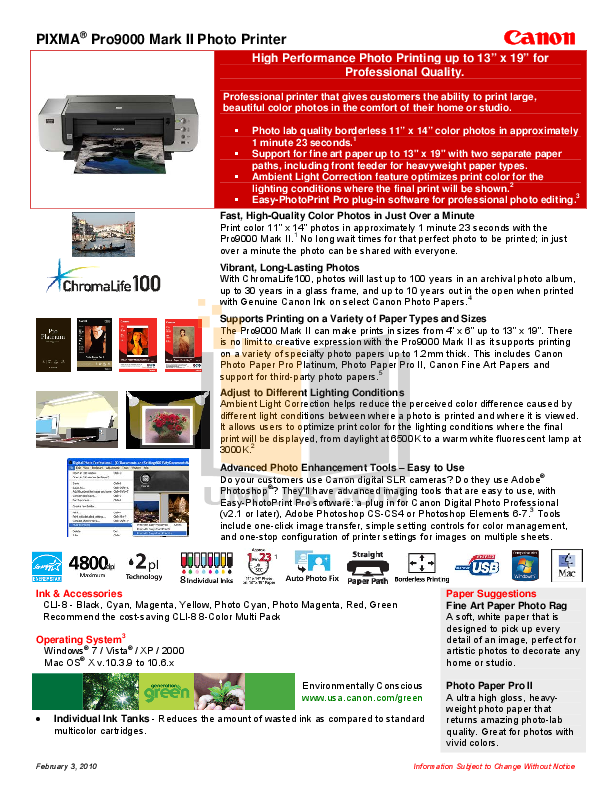 pdf for Canon Printer PIXMA Pro9000 Mark II manual