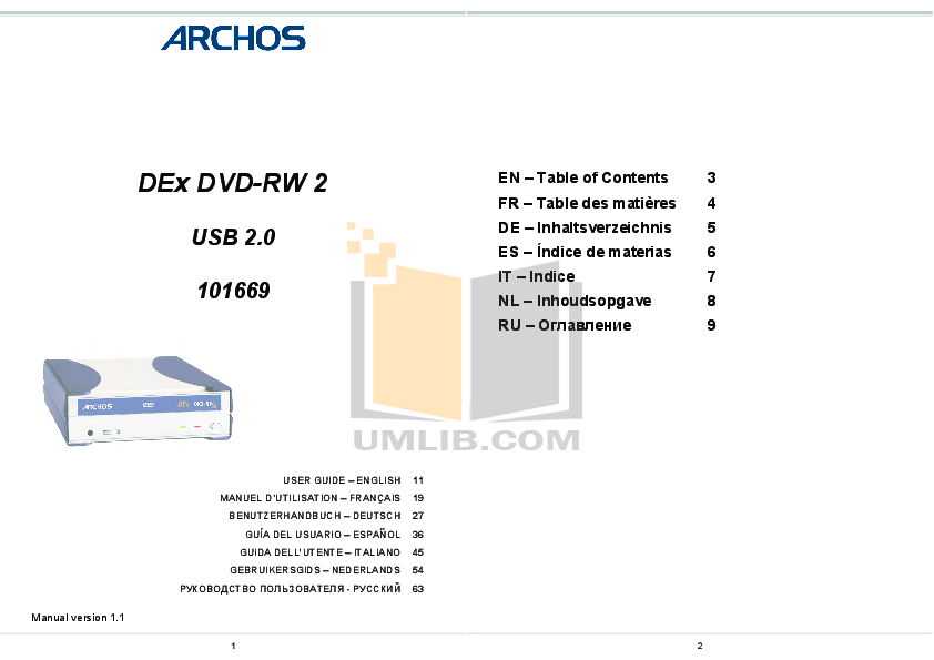 pdf for Archos Other DEx-CDRW CD writer manual