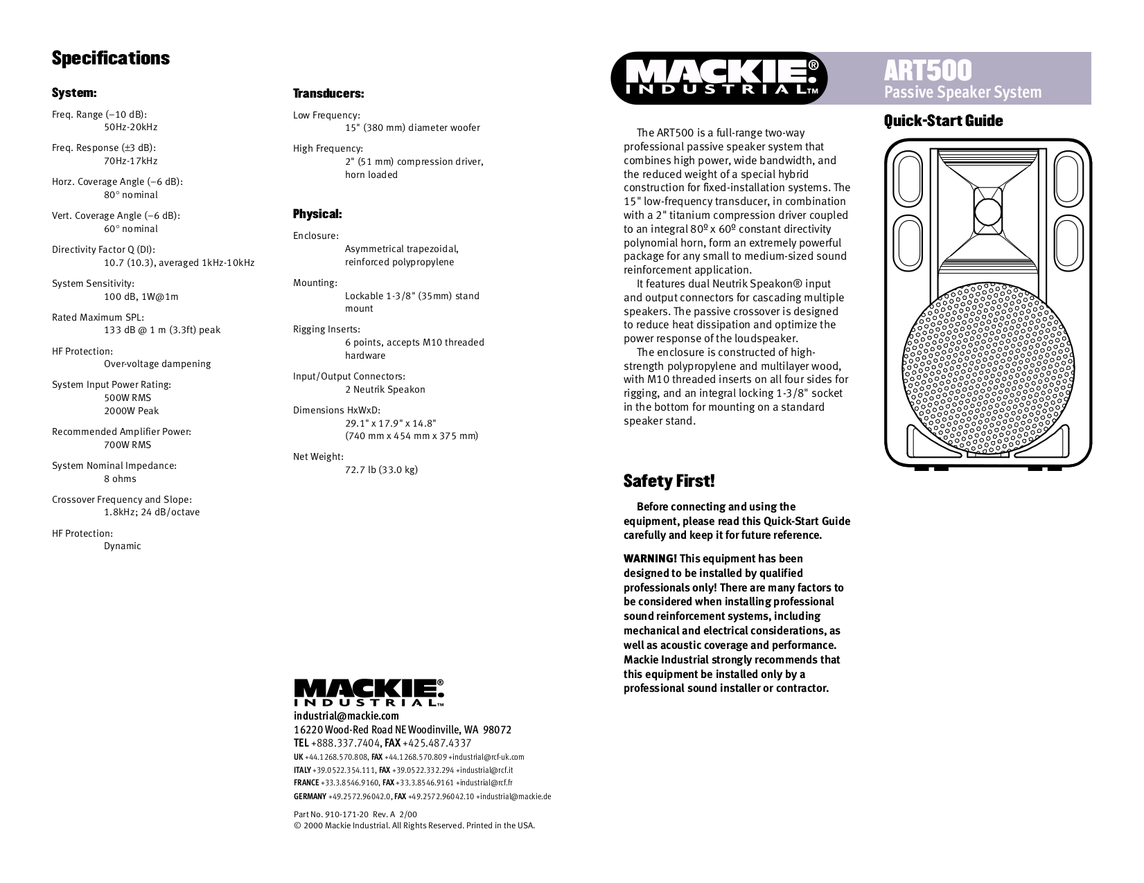 pdf for Mackie Speaker System Art Series ART500 manual
