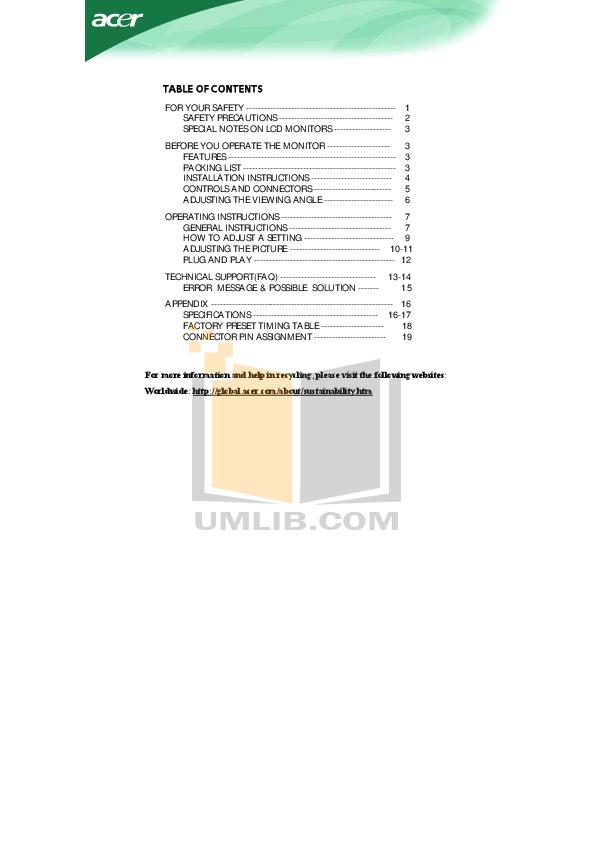 pdf for Acer Monitor AL1516 manual