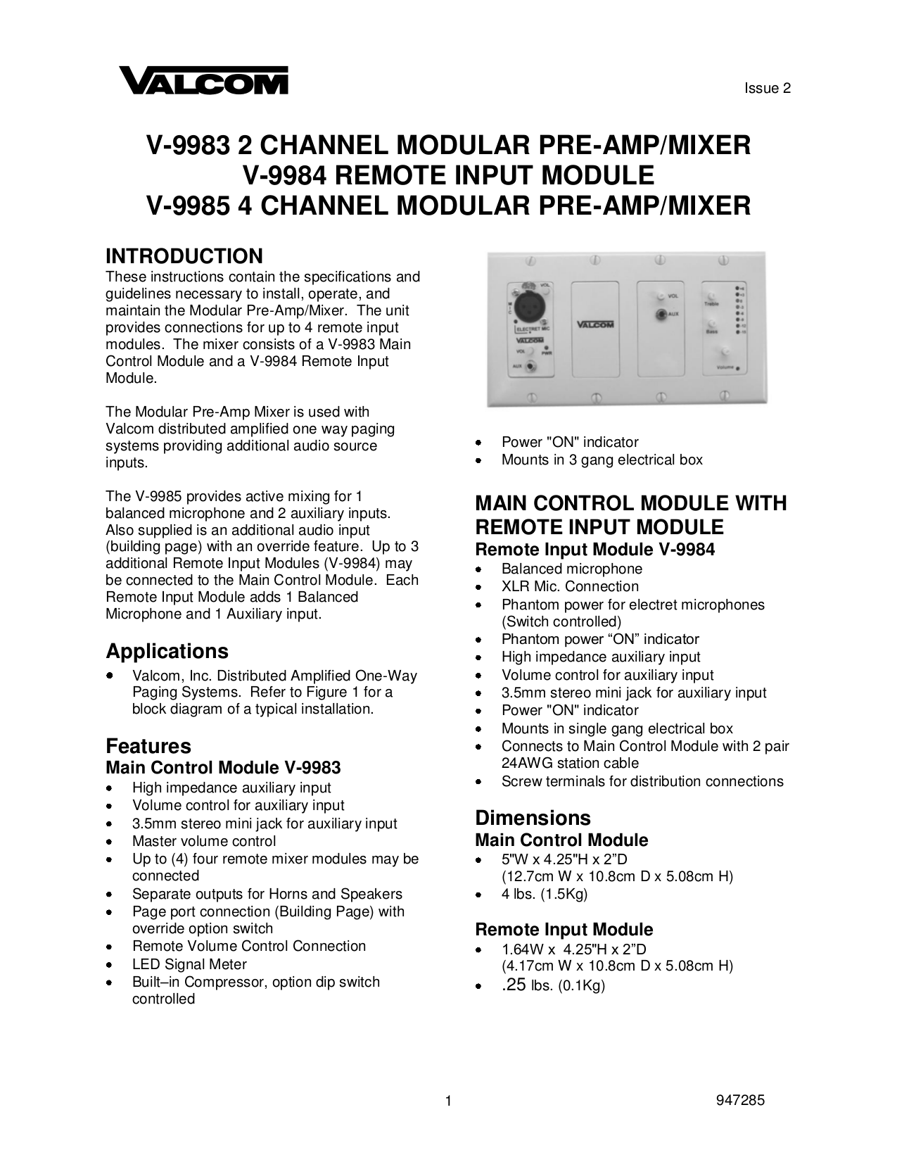 Download Free Pdf For Valcom V9984 Input Module Other Manual Electret Microphone To Xlr Wiring Diagrams