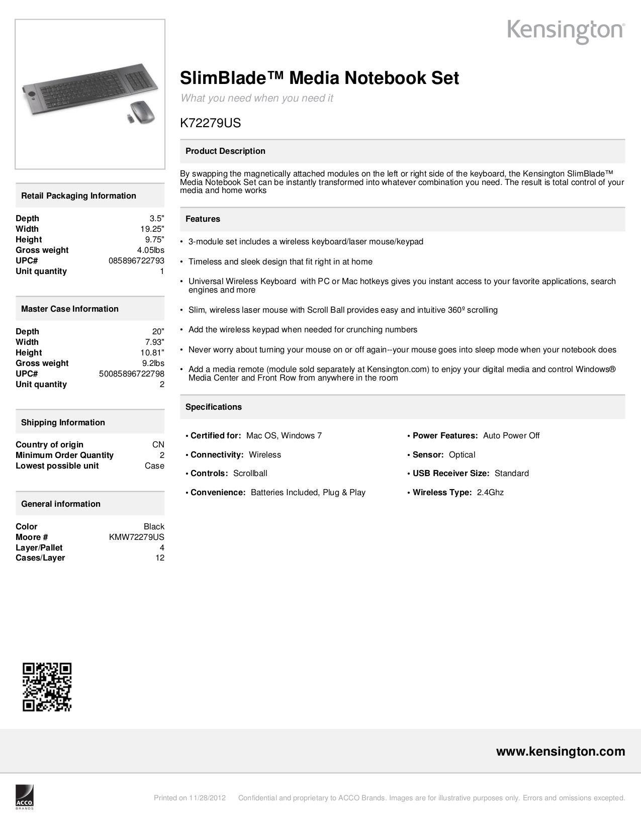 pdf for Kensington Keyboard K72279US manual