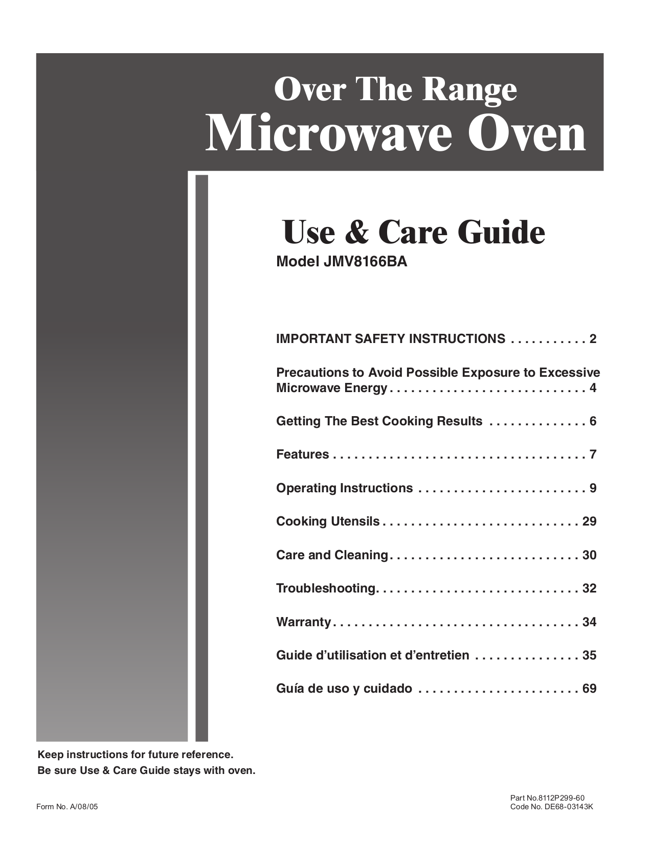 pdf for Jenn-Air Microwave JMV8166BA manual