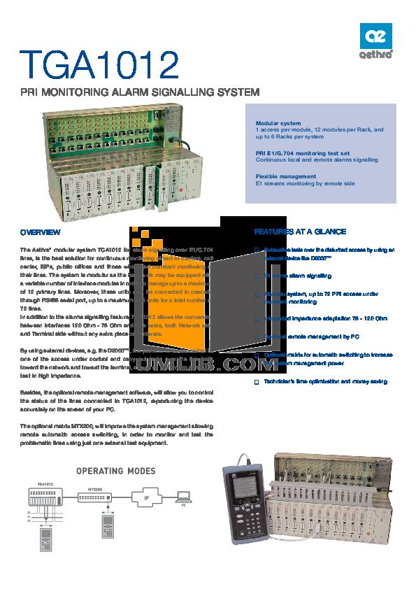pdf for Aethra Switch MTX200 manual