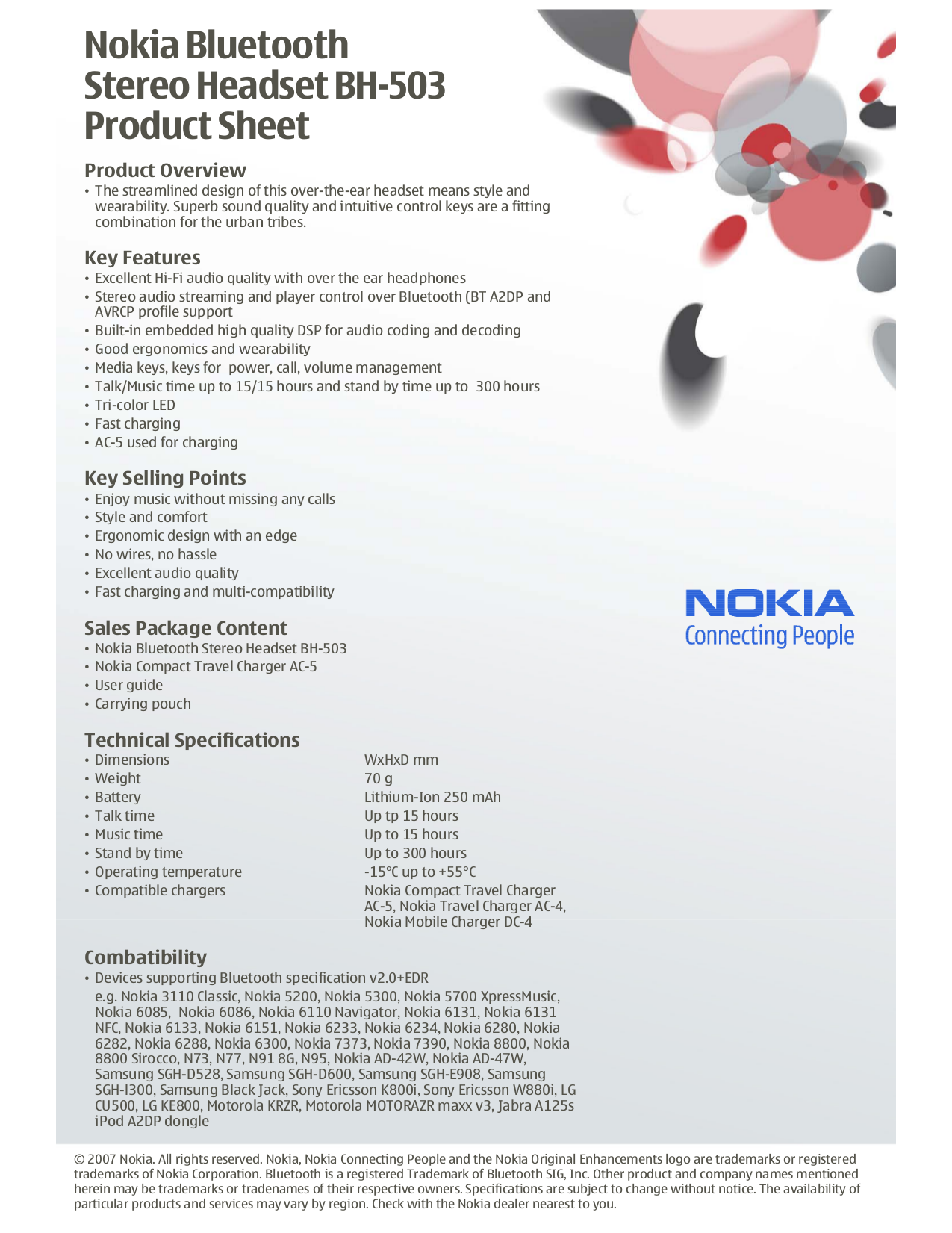 pdf for Nokia Headset BH-803 manual